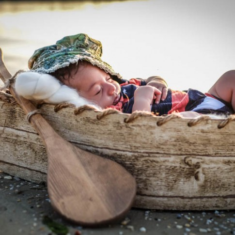 Newborn in canoe