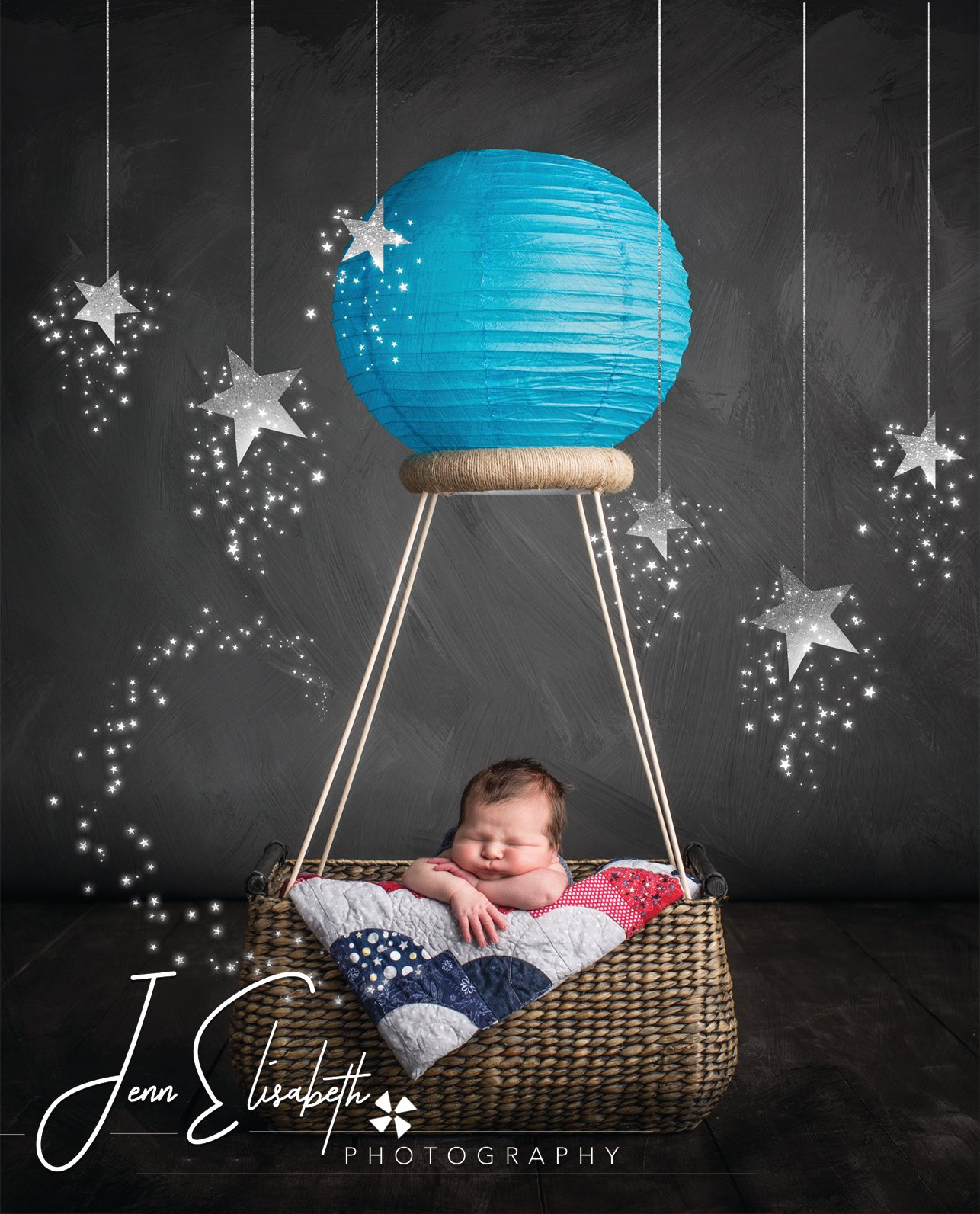 Whimsical Air Balloon Newborn Portrait by Jenn Elisabeth Photography in Woodbridge VA