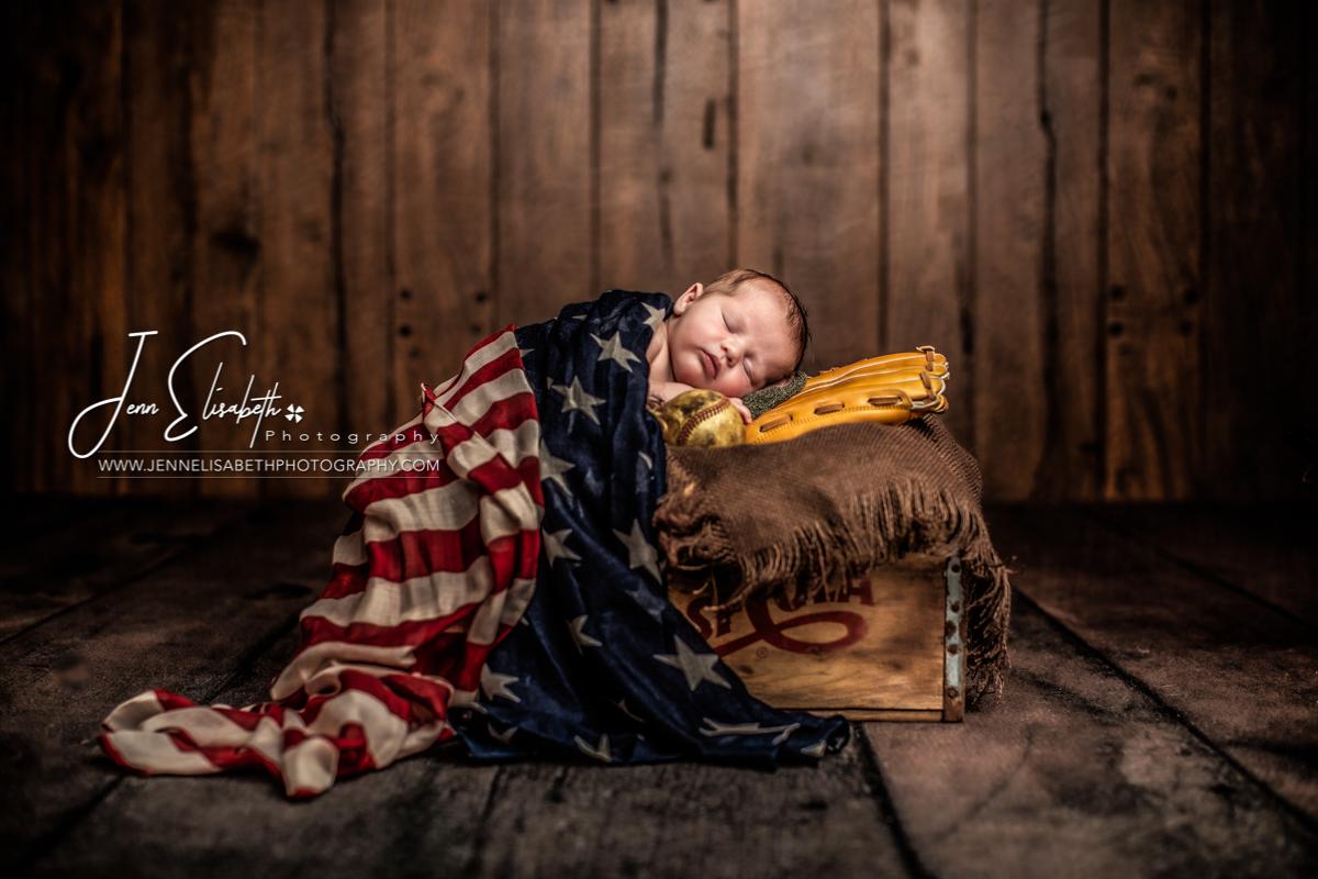 Newborn American Baseball Portrait