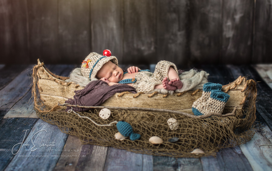 Newborn Canoe Fishing Portrait