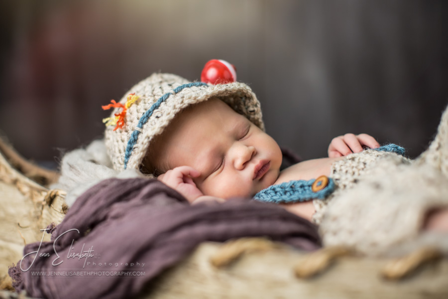 Newborn Canoe Fishing Hat Portrait